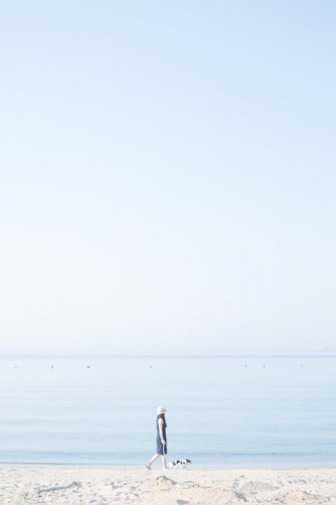 淡路島の海を散歩するピノとママ
