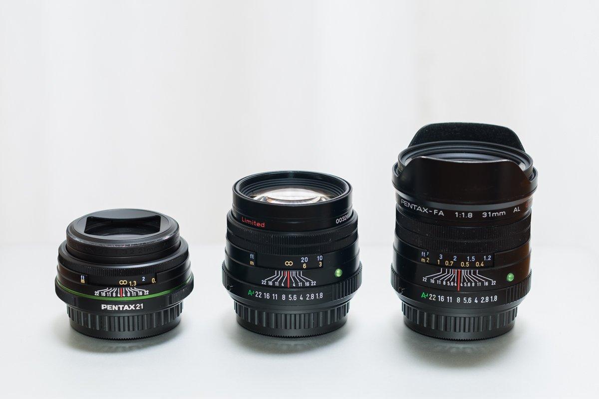 単焦点レンズ PENTAX 21mm 77mm 31mm