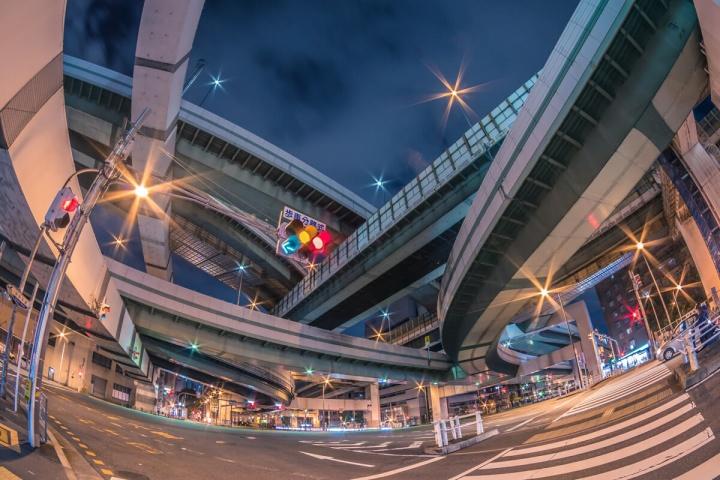 阿波座ジャンクション夜景